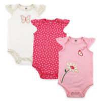 BabyVision® Hudson Baby® Size 6-9M 3-Pack Butterfly Flutter Sleeve Bodysuits in Pink