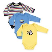 BabyVision® Hudson Baby® Size 3-6M 3-Pack Penguin Long Sleeve Bodysuits in Yellow