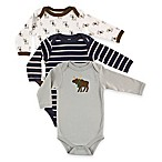 BabyVision® Hudson Baby® Size 9-12M 3-Pack Moose Long Sleeve Bodysuits in Grey