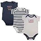 BabyVision® Luvable Friends® Size 3-6M 3-Pack  I Love Daddy  Bodysuits in Navy/Blue