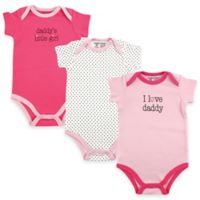 "BabyVision® Luvable Friends® 3-Pack ""I Love Daddy"" Bodysuits in Pink"