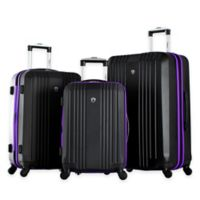 Olympia® USA Apache 3-Piece 4-Wheel Expandable Spinner Luggage Set in Black/Purple