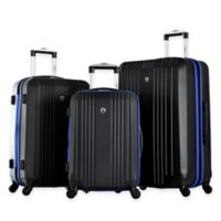Olympia® USA Apache 3-Piece 4-Wheel Expandable Spinner Luggage Set in Black/Blue