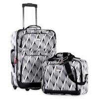 Olympia® USA Let's Travel! 2-Piece Rolling Carry On Luggage Set in Black/White Spiral Print