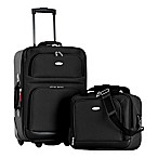 Olympia® USA Let's Travel! 2-Piece Rolling Carry On Luggage Set in Black