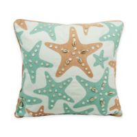 Newport Starfish Throw Pillow in Aqua and Coral