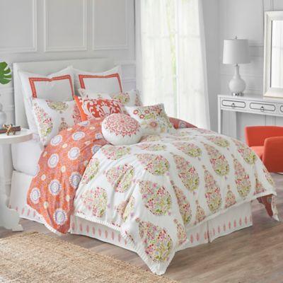 dena home santana reversible king comforter set in whiteorange