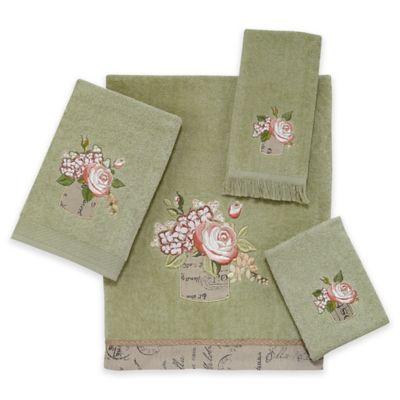 antique bouquet bath towel in sage - Decorative Towels