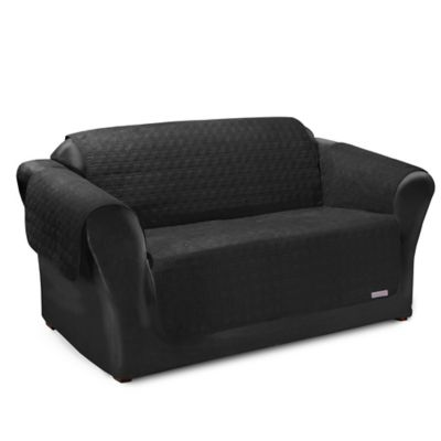 quick cover for leather premium waterproof quilted microsuede loveseat cover in black black furniture covers