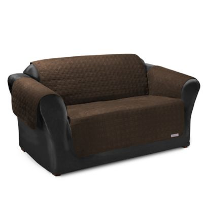 quick cover for leather premium waterproof quilted microsuede loveseat cover in bark