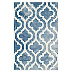 Safavieh Dip Dye Double Trellis 2-Foot 6-Inch x 4-Foot Accent Rug in Blue/Ivory