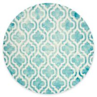 Safavieh Dip Dye Double Trellis 7-Foot Round Area Rug in Ivory/Turquoise