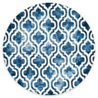 Safavieh Dip Dye Double Trellis 7-Foot Round Area Rug in Navy/Ivory