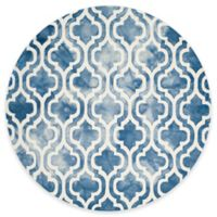 Safavieh Dip Dye Double Trellis 7-Foot Round Area Rug in Blue/Ivory