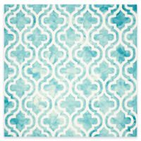 Safavieh Dip Dye Double Trellis 7-Foot Square Area Rug in Ivory/Turquoise