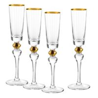 Qualia Dominion Champagne Flutes in Gold (Set of 4)
