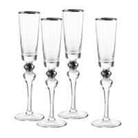 Qualia Dominion Champagne Flutes in Platinum (Set of 4)