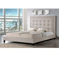 Baxton Studio Hirst King Platform Bed with Bench in Light Beige