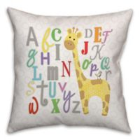 Alphabet Giraffe 18-Inch Square Throw Pillow in White/Yellow