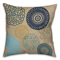 Emblem 16-Inch Square Throw Pillow in Blue/Beige