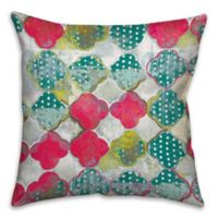 Drippy 18-Inch Square Quatrefoil Throw Pillow in Pink/Blue