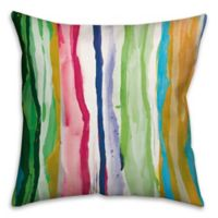 Watercolor Drippy Lines 16-Inch Throw Pillow in Green/Pink