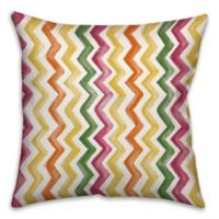 Watercolor Zigzag 16-Inch Square Throw Pillow