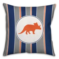 Triceratops 16-Inch Square Throw Pillow in Orange/Navy