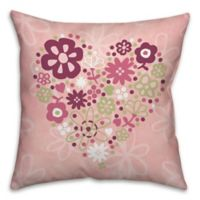 Flower Heart 18-Inch x 18-Inch Square Throw Pillow in Pink