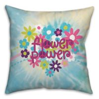 Flower Power 16-Inch x 16-Inch Square Throw Pillow in Blue/Pink