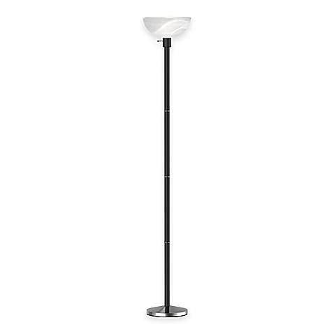 Adessor anderson torchiere floor lamp in black wood grain for Torchiere floor lamp bed bath and beyond