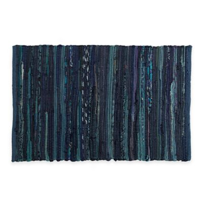 Etonnant Chindi 2 Foot X 3 Foot Hand Woven Kitchen Rug In Blue