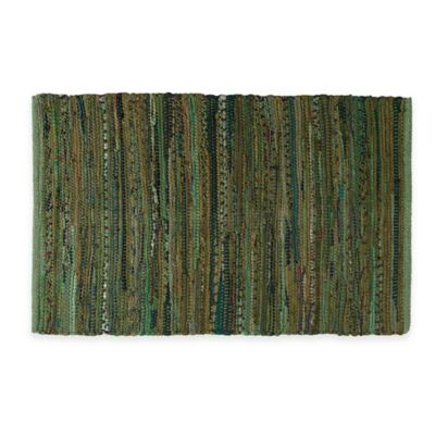 Chindi 2 Foot X 3 Foot Hand Woven Kitchen Rug In Olive