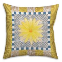 Daisy Collage 16-Inch Square Throw Pillow in Blue/Yellow