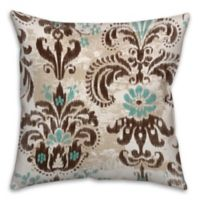 Ikat 16-Inch x 16-Inch Throw Pillow in Brown/Turquoise