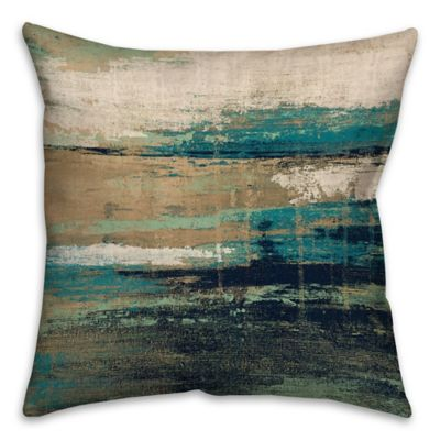 16 Inch Square Abstract Square Throw Pillow In Blue/Brown