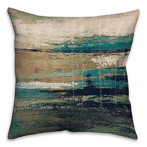 18 Inch Square Abstract Square Throw Pillow In Blue Brown