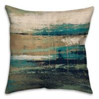 16-Inch Square Abstract Square Throw Pillow in Blue/Brown