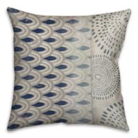 Mixed Patterns 16-Inch Square Throw Pillow in Blue/White