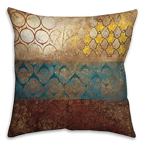 Big World Patterns Square Throw Pillow in Yellow/Blue - Bed Bath & Beyond