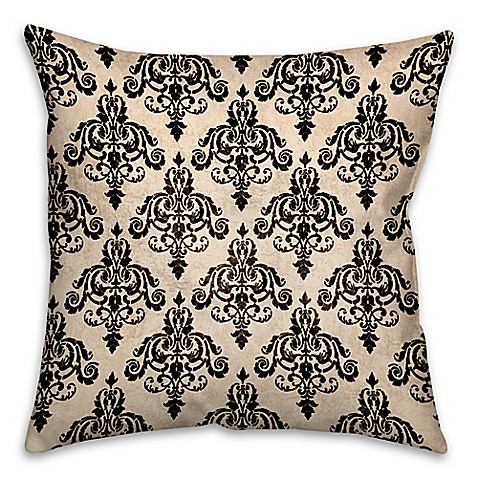Black Throw Pillows Bed Bath And Beyond : Damask Square Throw Pillow in Black/White - Bed Bath & Beyond