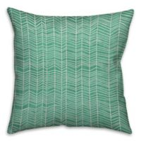 Neutral Zig-Zag 16-Inch Square Throw Pillow in Green/White