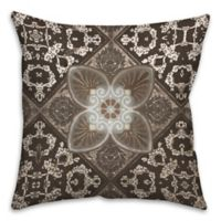 Taupe Tiles 16-Inch Square Throw Pillow in Brown