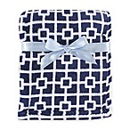 BabyVision® Luvable Friends® Trellis Coral Fleece Blanket in Navy