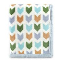Hudson Baby Chevron Coral Fleece Blanket in Blue
