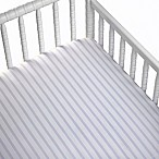 CoCaLo® Striped Cotton Percale Fitted Crib Sheet in Orchid/White