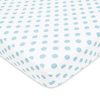 TL Care® Cotton Flannel Polka Dot Fitted Crib Sheet in Blue