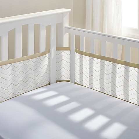 BreathableBaby® Breathable Mesh Chevron Crib Liner in Khaki