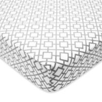 TL Care® Heavenly Soft Chenille Lattice Print Fitted Crib Sheet in Grey