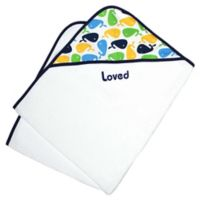 Loved Hooded Towel 2-Piece Gift Set in Navy Whales